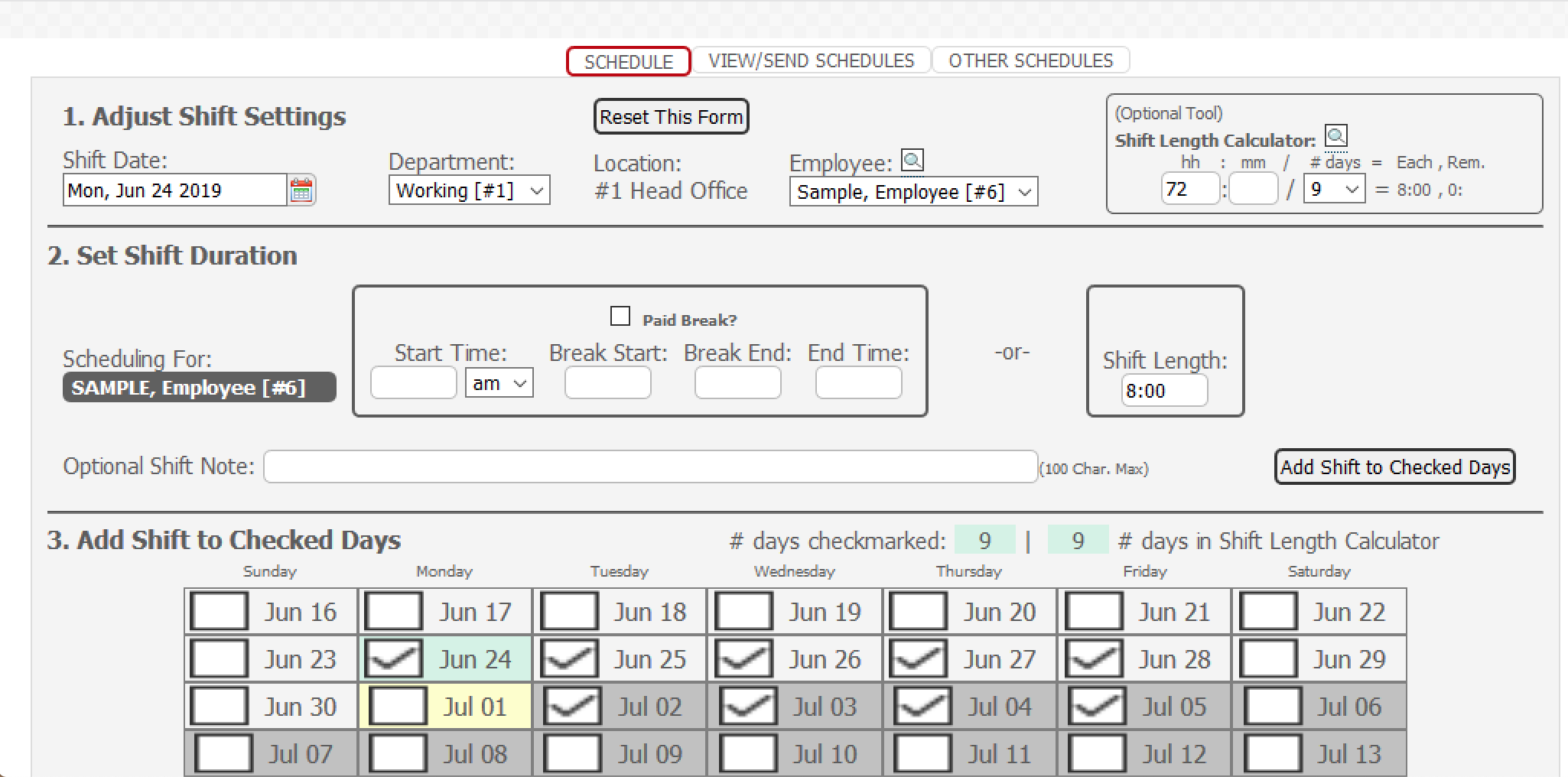 Payroll Connected enter hours worked