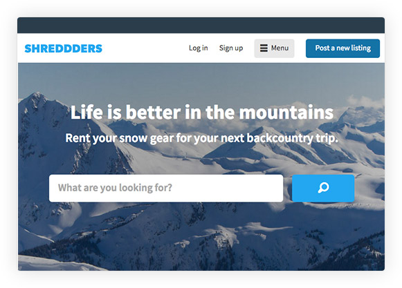 Sharetribe white-label design screenshot