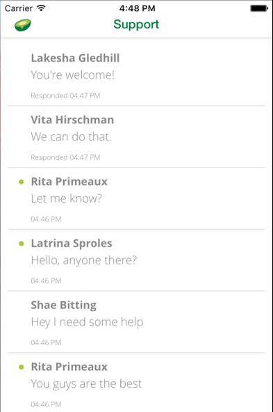 Avochato screenshot: Users can manage and respond to multiple conversations concurrently