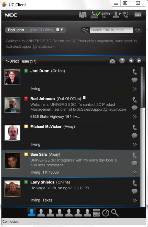 UNIVERGE 3C Software - Client interface