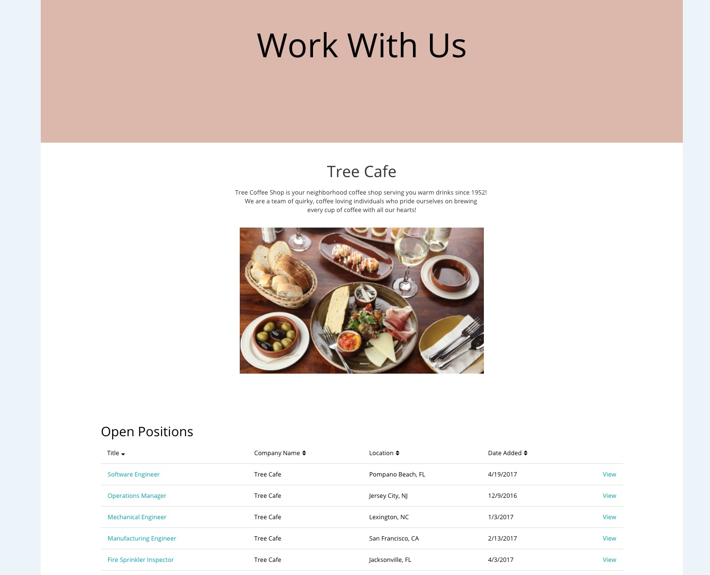 Career site preview page