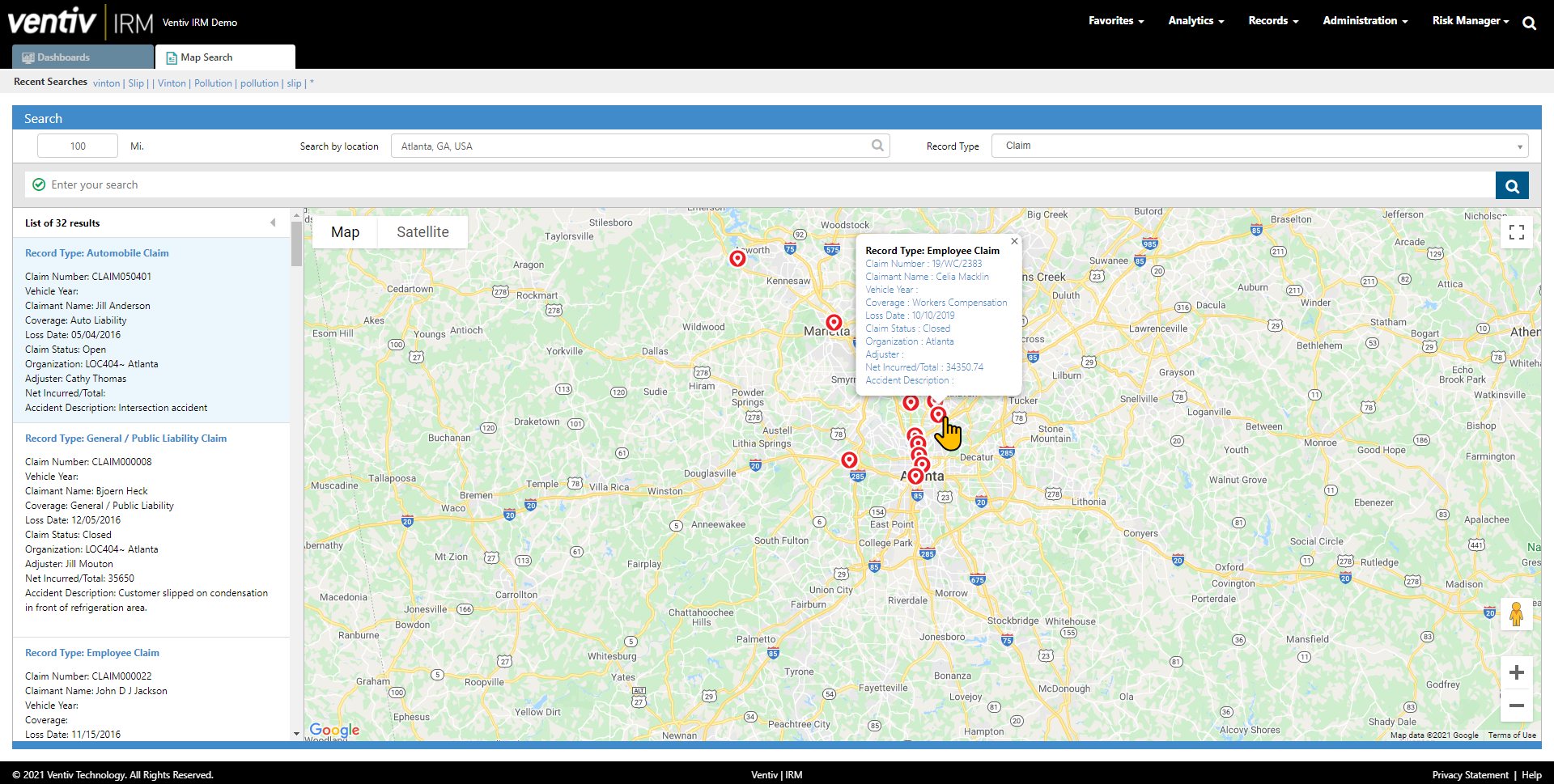 Map Search allows you look for information geographically to spot locations and concentrations. Connect to our advanced analytics to see how your risk profile is impacted by geographic hazards and perils.