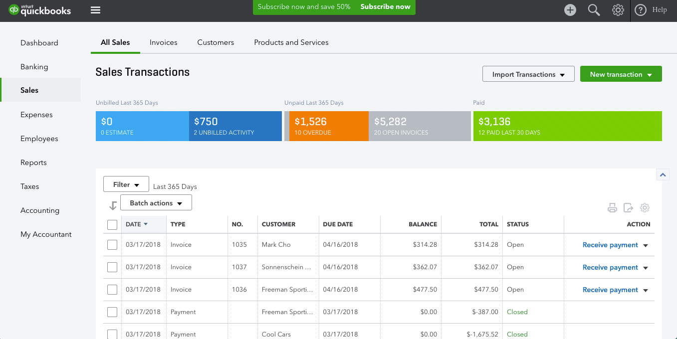 Sales can be tracked including overdue payments, open invoices, unbilled activity, and more