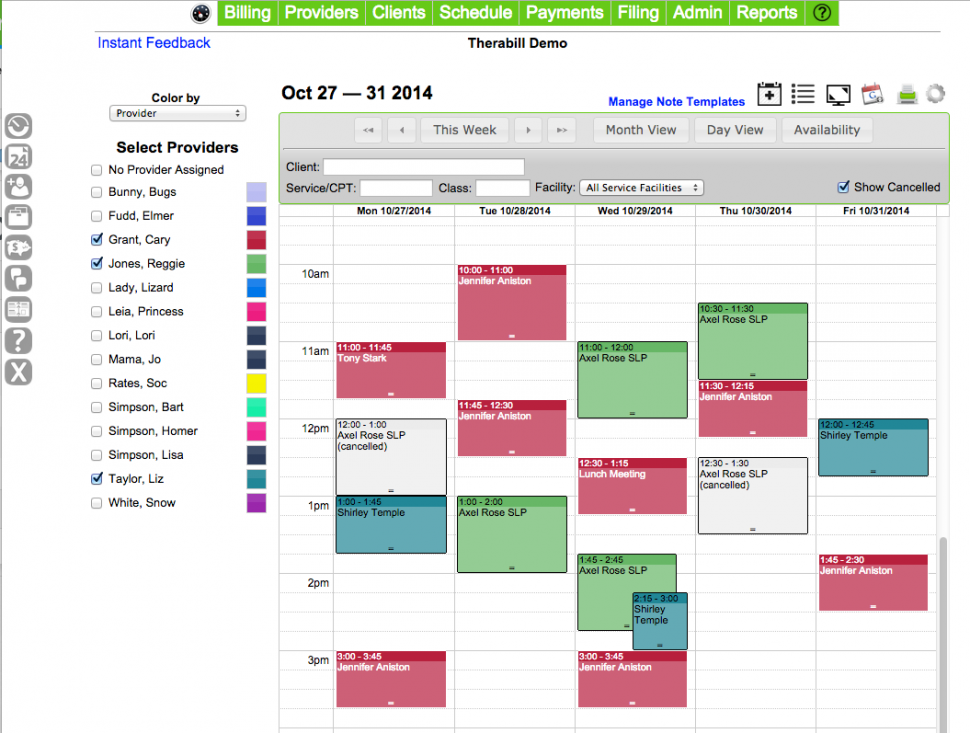 Therabill Software - Scheduling and appointments