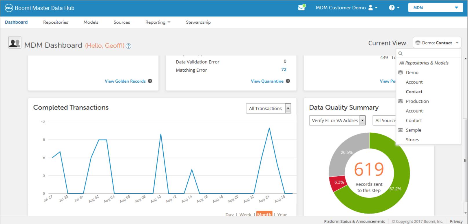 Boomi Software - Boomi Master Data Hub Dashboard