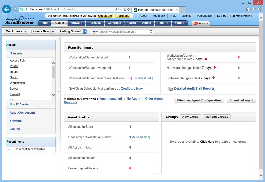 Asset summaries in ManageEngine Asset Explorer