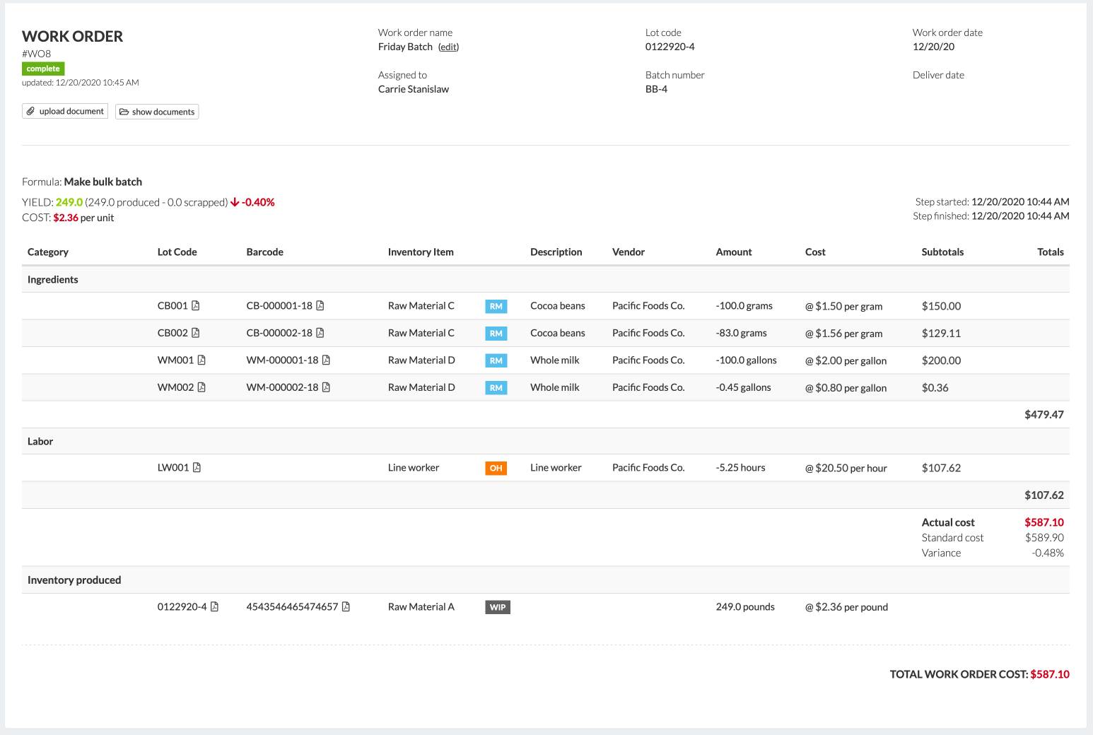 Wherefour  screenshot: Full batch and variance costing + blended material. Produce virtually any product through flexible formula building blocks and Wherefour will track, trace and maintain lot codes for everything in inventory. You always know what you have & where it went.