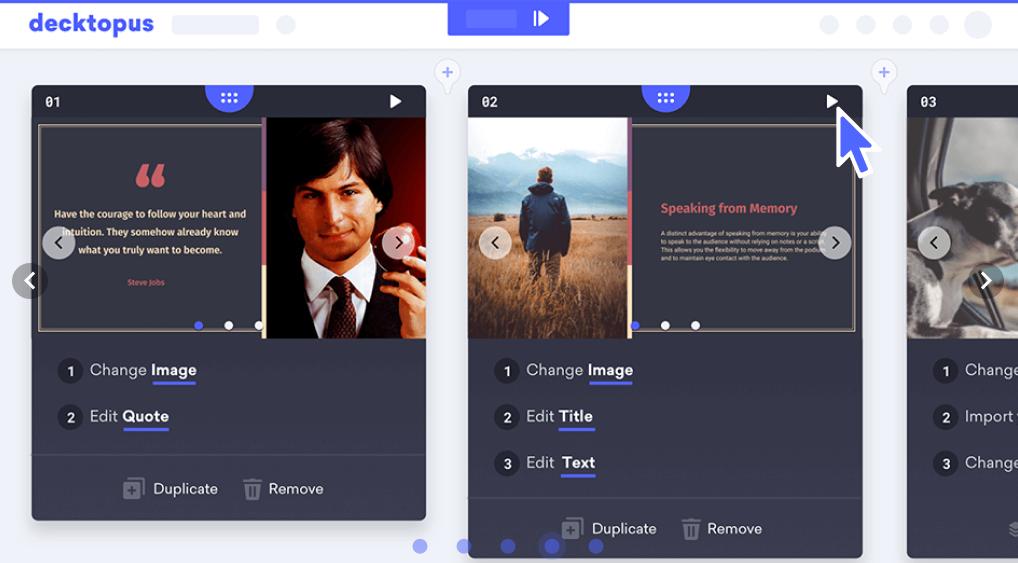 Decktopus presentation creation