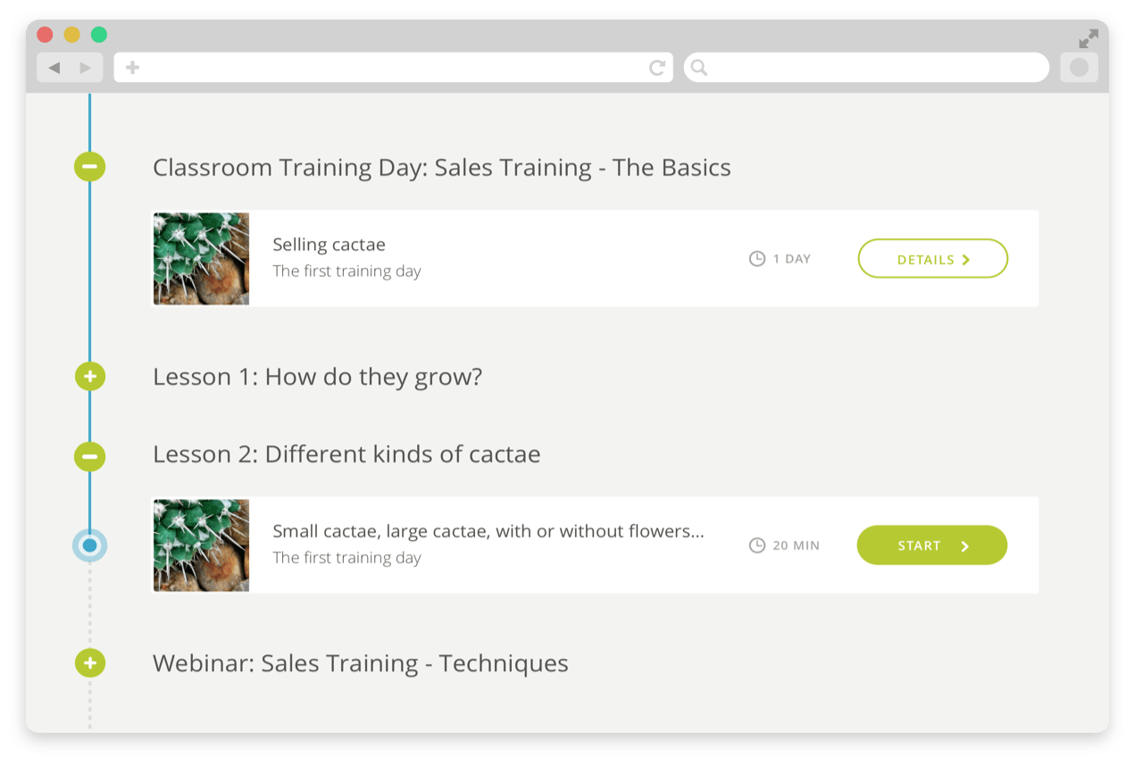 Create learning journeys consisting of different learning activities such as videos, assessments, surveys, assignments or lessons
