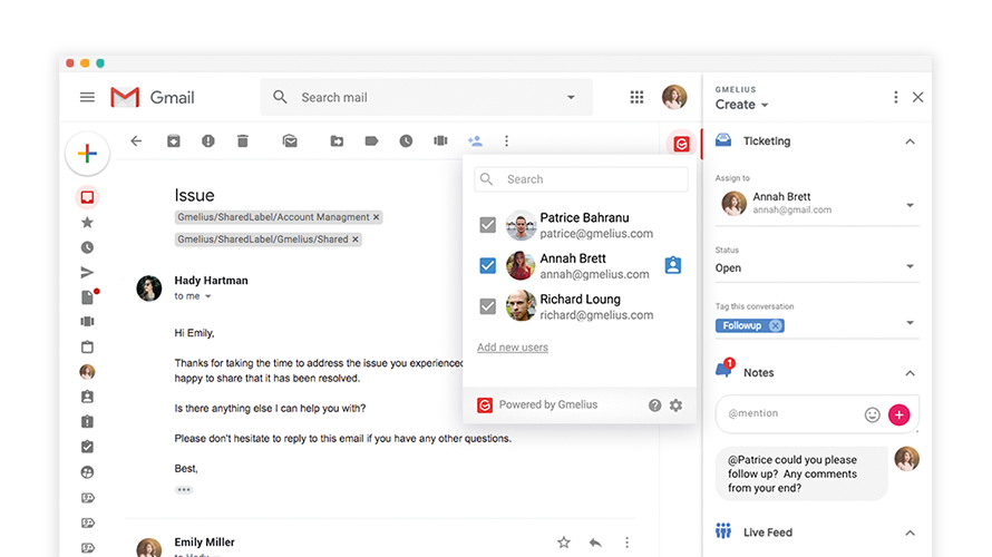 Gmelius Shared inboxes in Gmail allow your team to collaborate in real-time