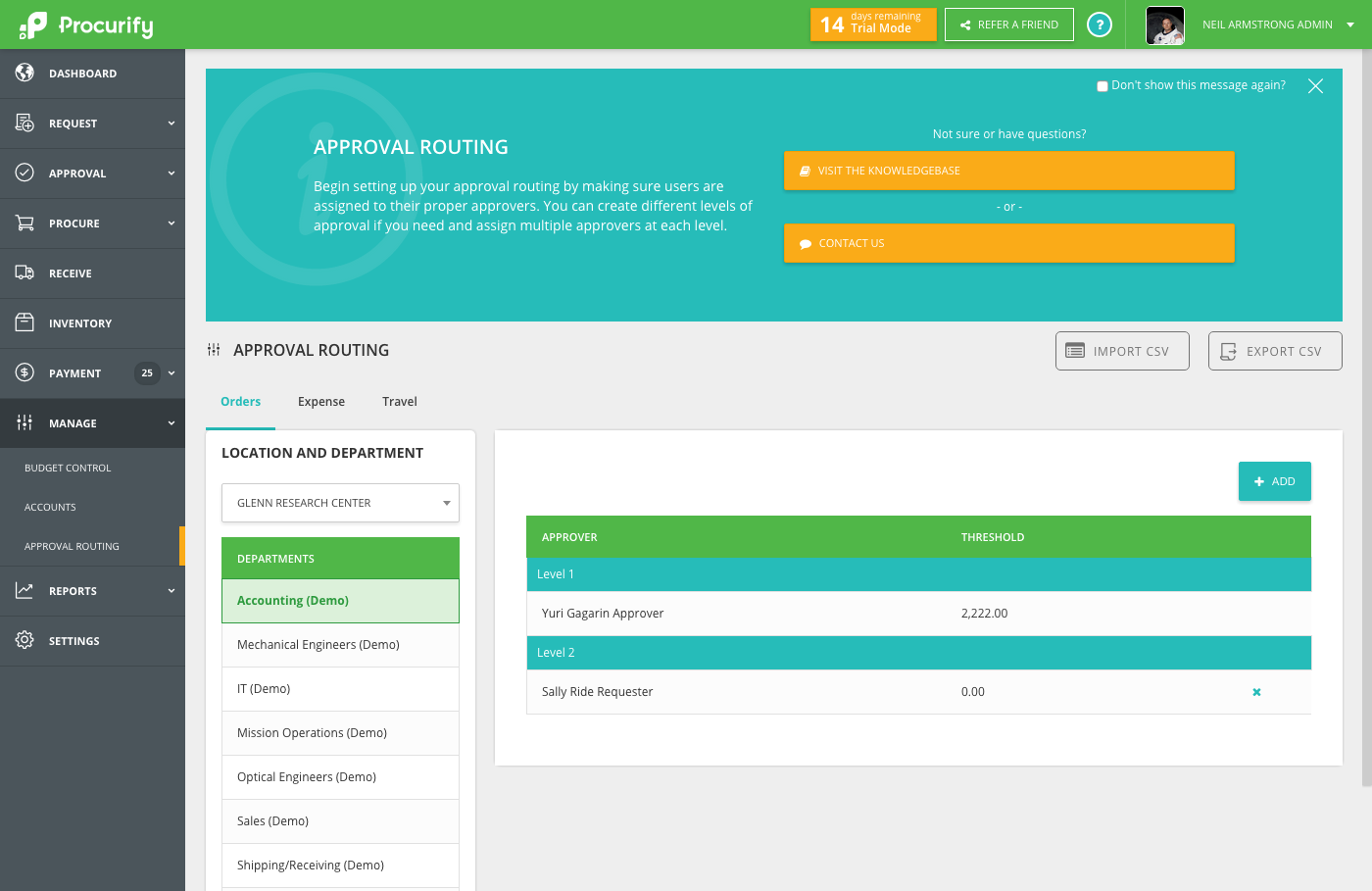 Approval Routing & User Account Roles