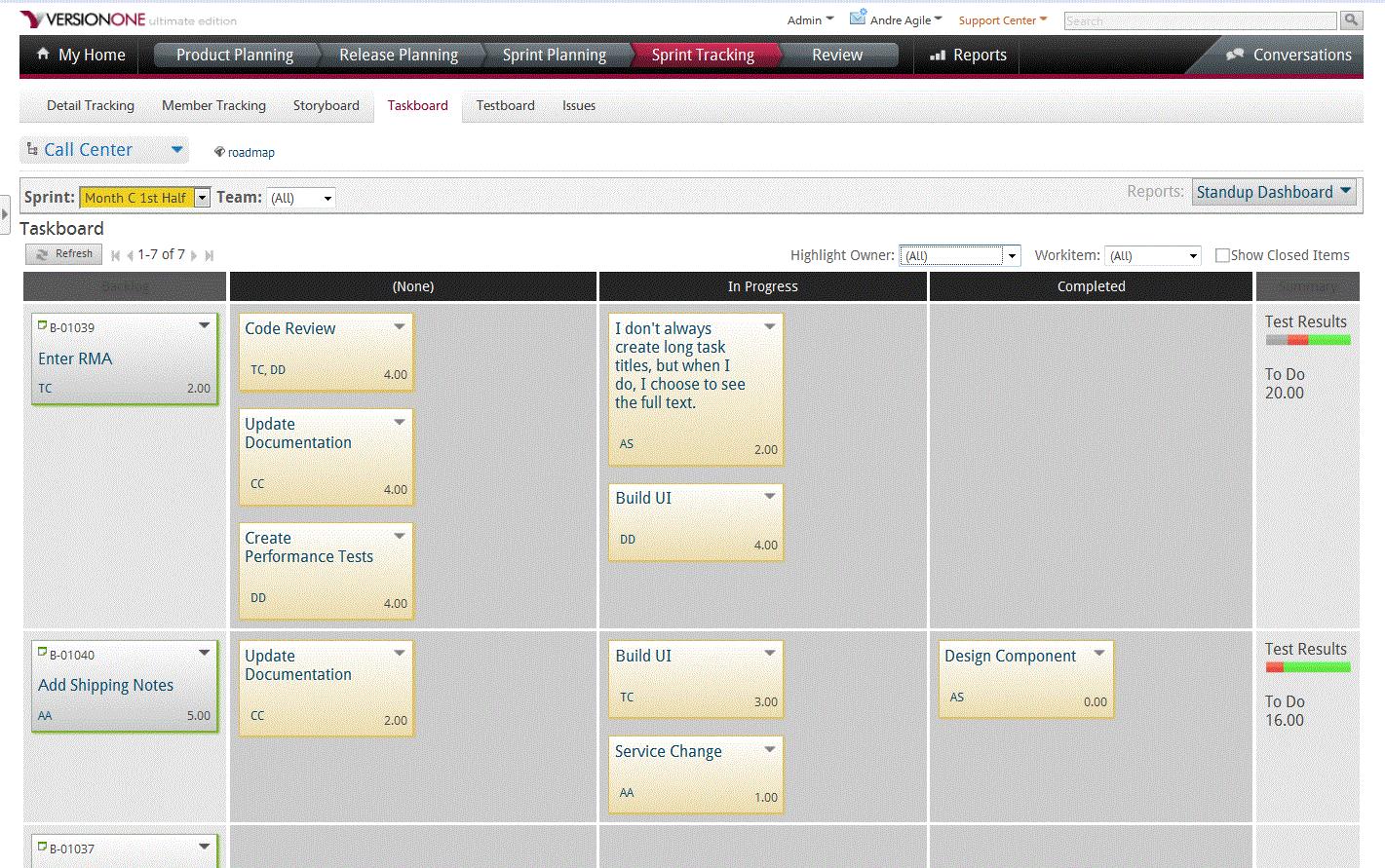 Sprint tracking taskboard in VersionOne