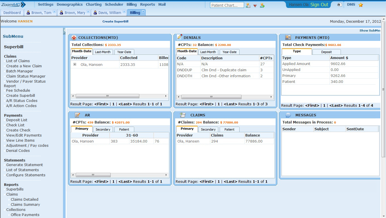ZoomMD Software - Billing Dashboard