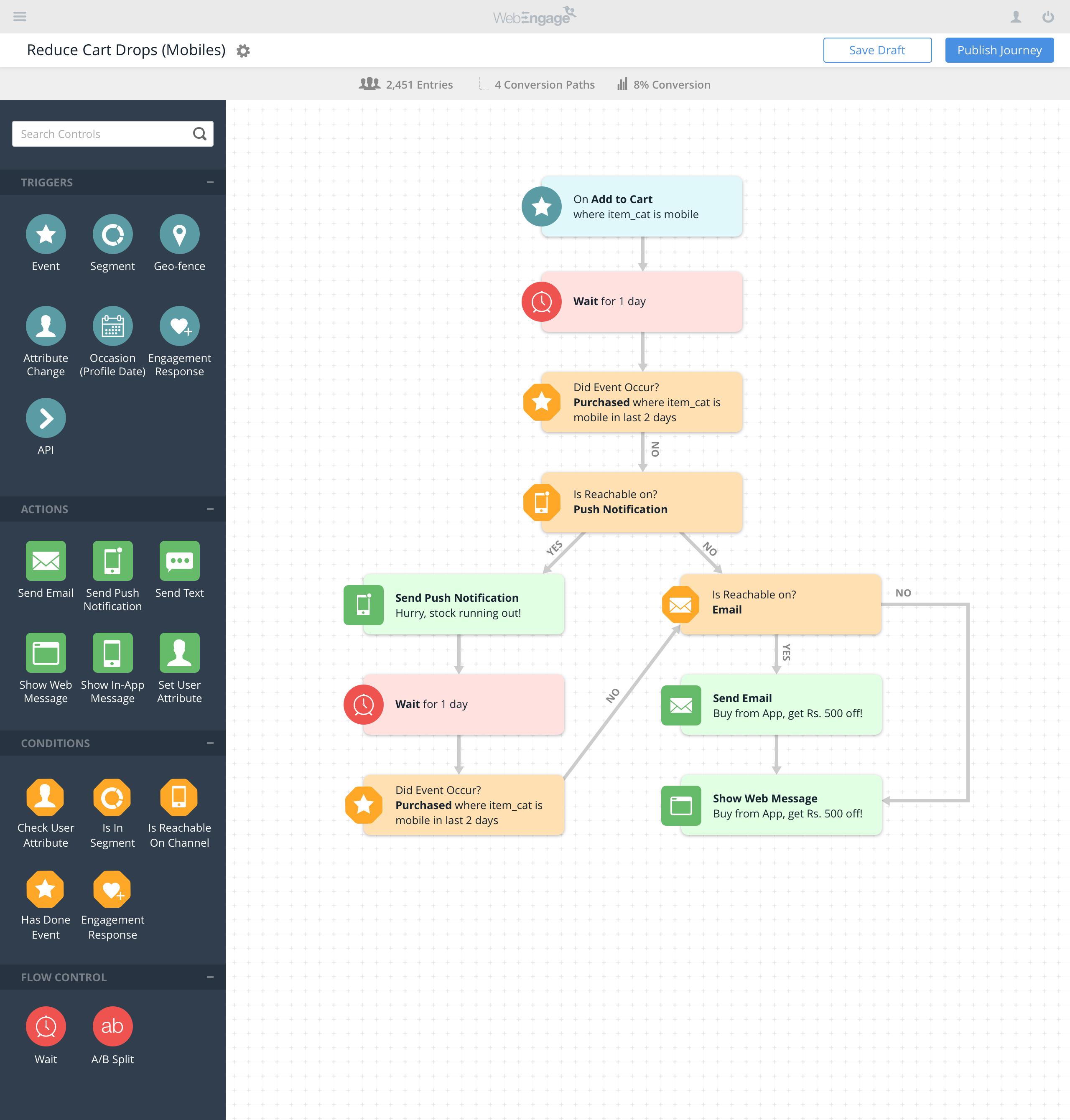 WebEngage Software - Customer journey manager