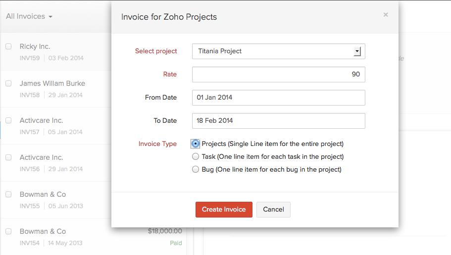 Zoho Invoice screenshot: Zoho Invoice - Invoice for Zoho Projects