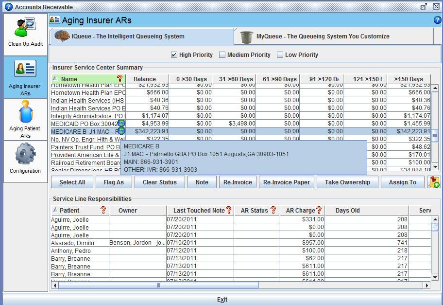 Iridium Suite Software - Aging insurer AR screen