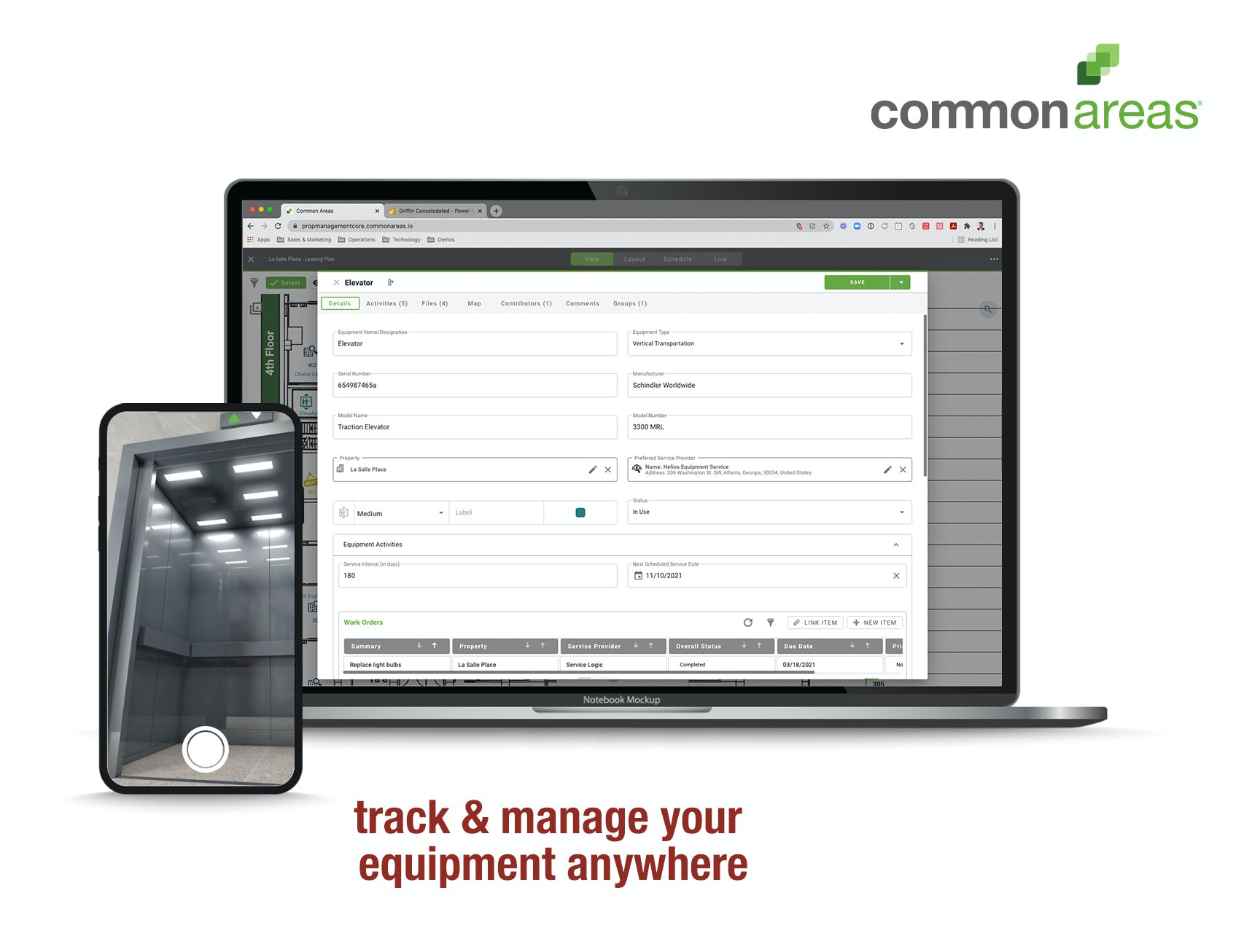 Common Areas Software - Access all of your equipment information in one place, right at your fingertips. Streamline your maintenance processes and keep track of everything related to your properties including work orders, inspections, equipment and more.
