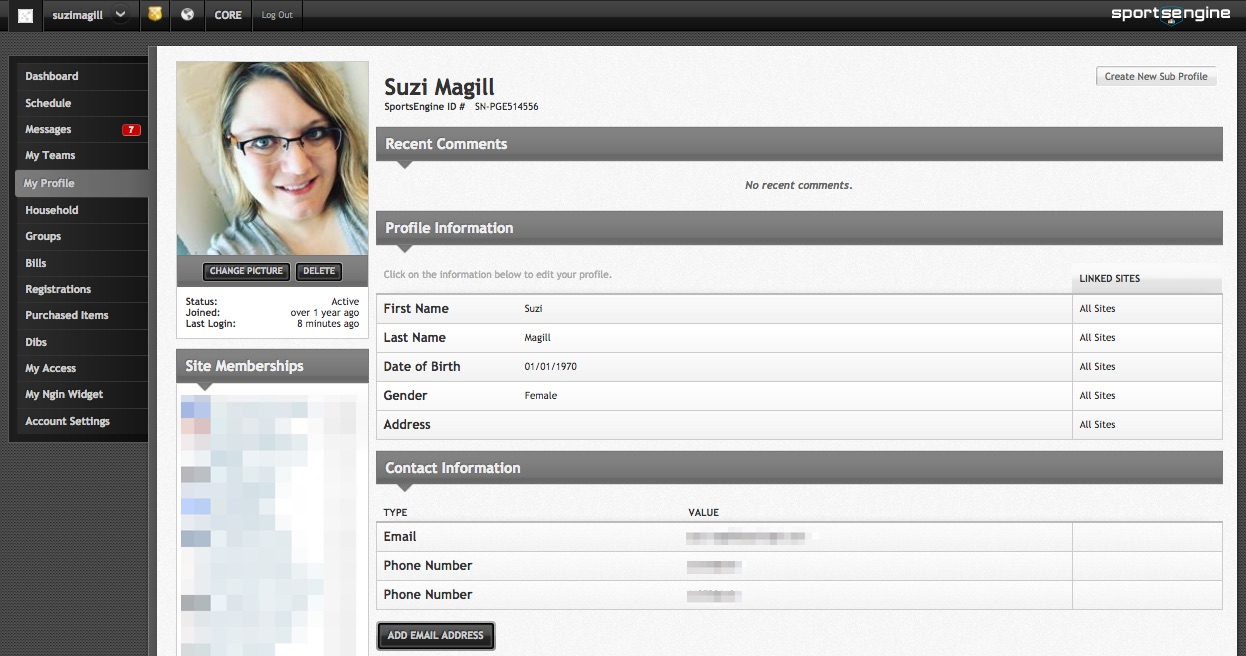 SportsEngine player profile