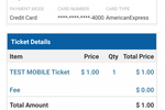 Eventdex screenshot: View order and ticket details such as price, quantity, attendees, and more