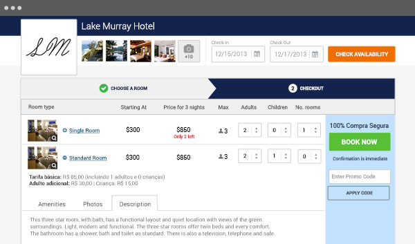 Cloudbeds screenshot: The booking engine allows users to take direct bookings through their website