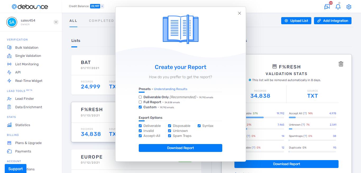 DeBounce report download
