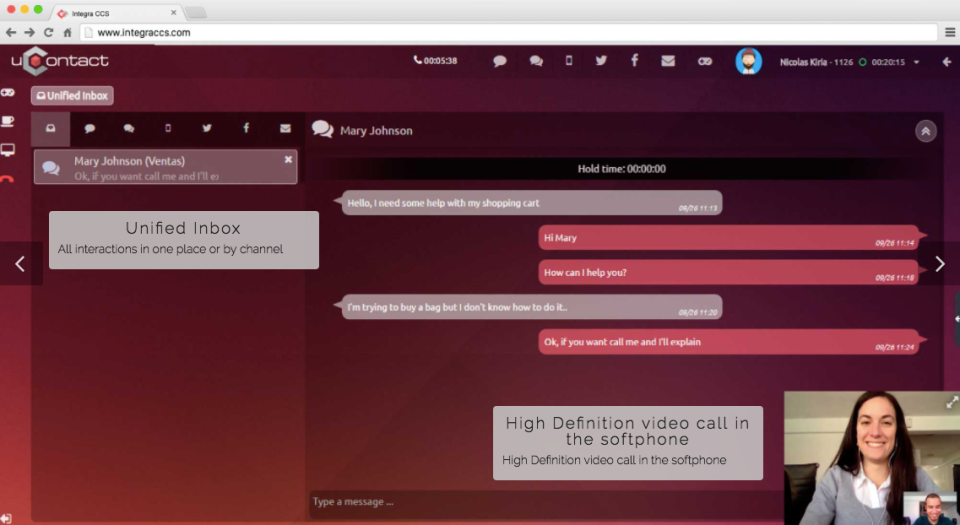 Communicate through multiple channels including web chat and video calls