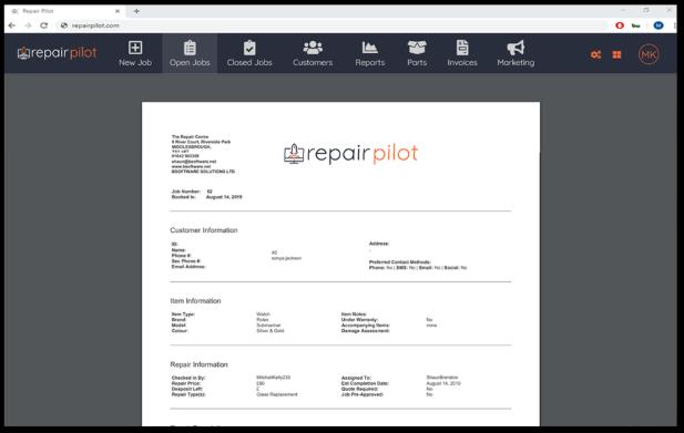 Repair Pilot receipt printing