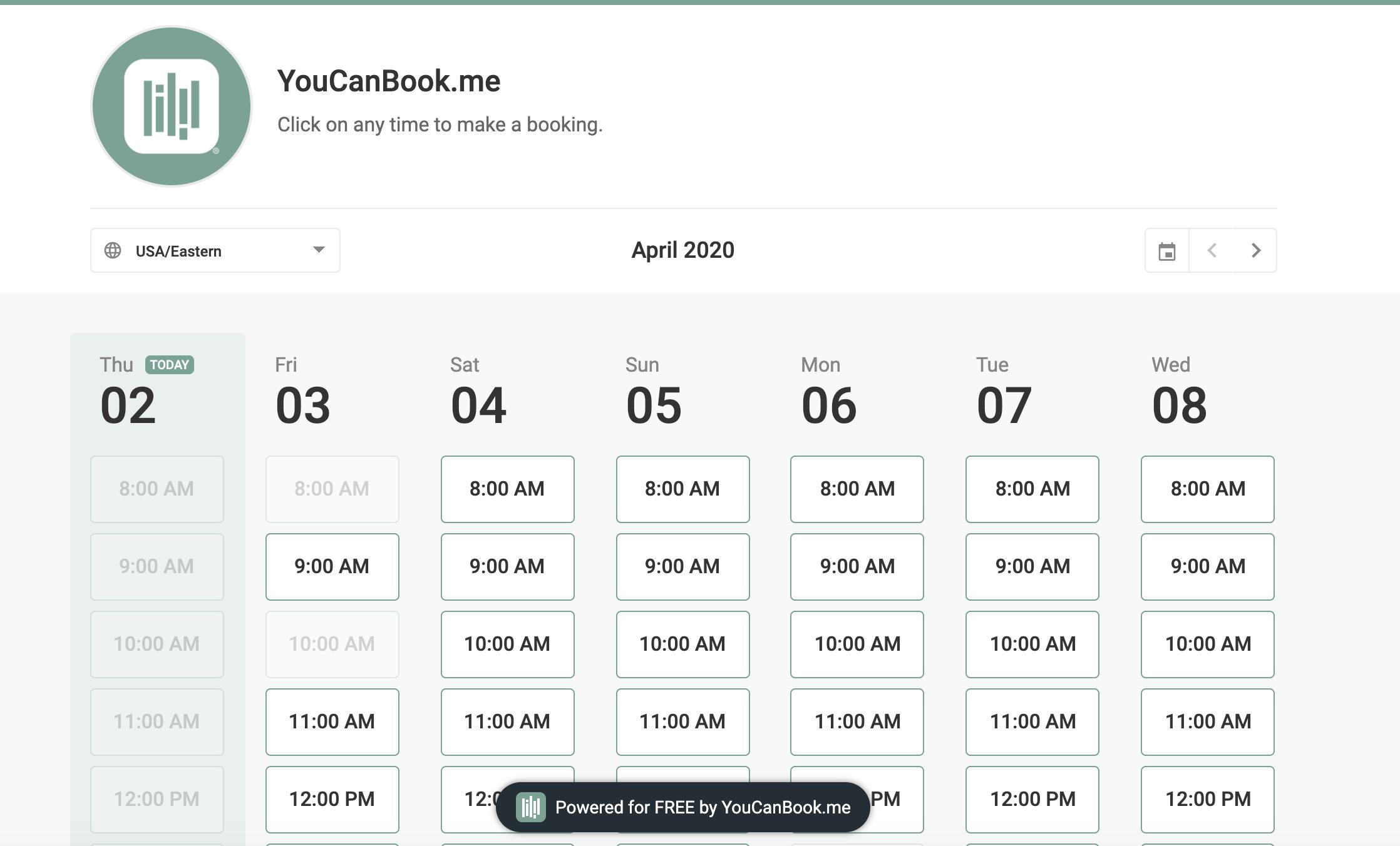 YouCanBook.me booking calendar