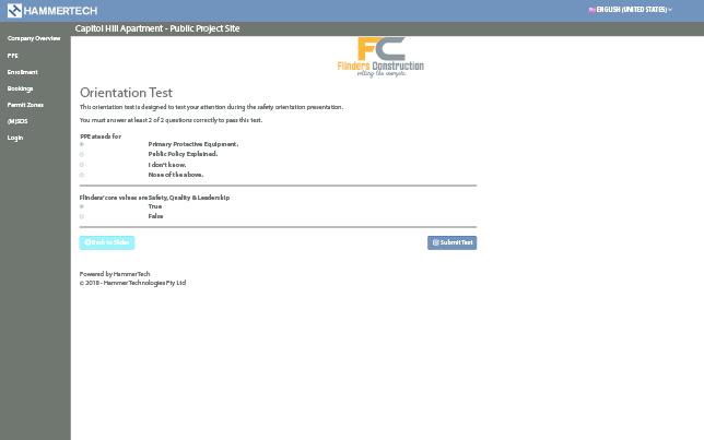 HammerTech online orientation screenshot