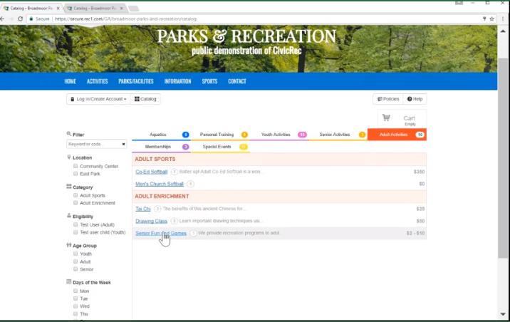 CivicRec activities management screenshot