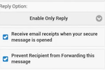 NeoCertified screenshot: Enable read receipts and disable forwarding via mobile