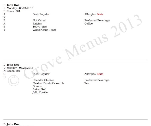 Increase production as the head count increases with Grove Menus