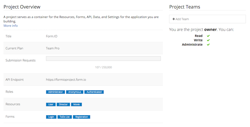 Form.io project details