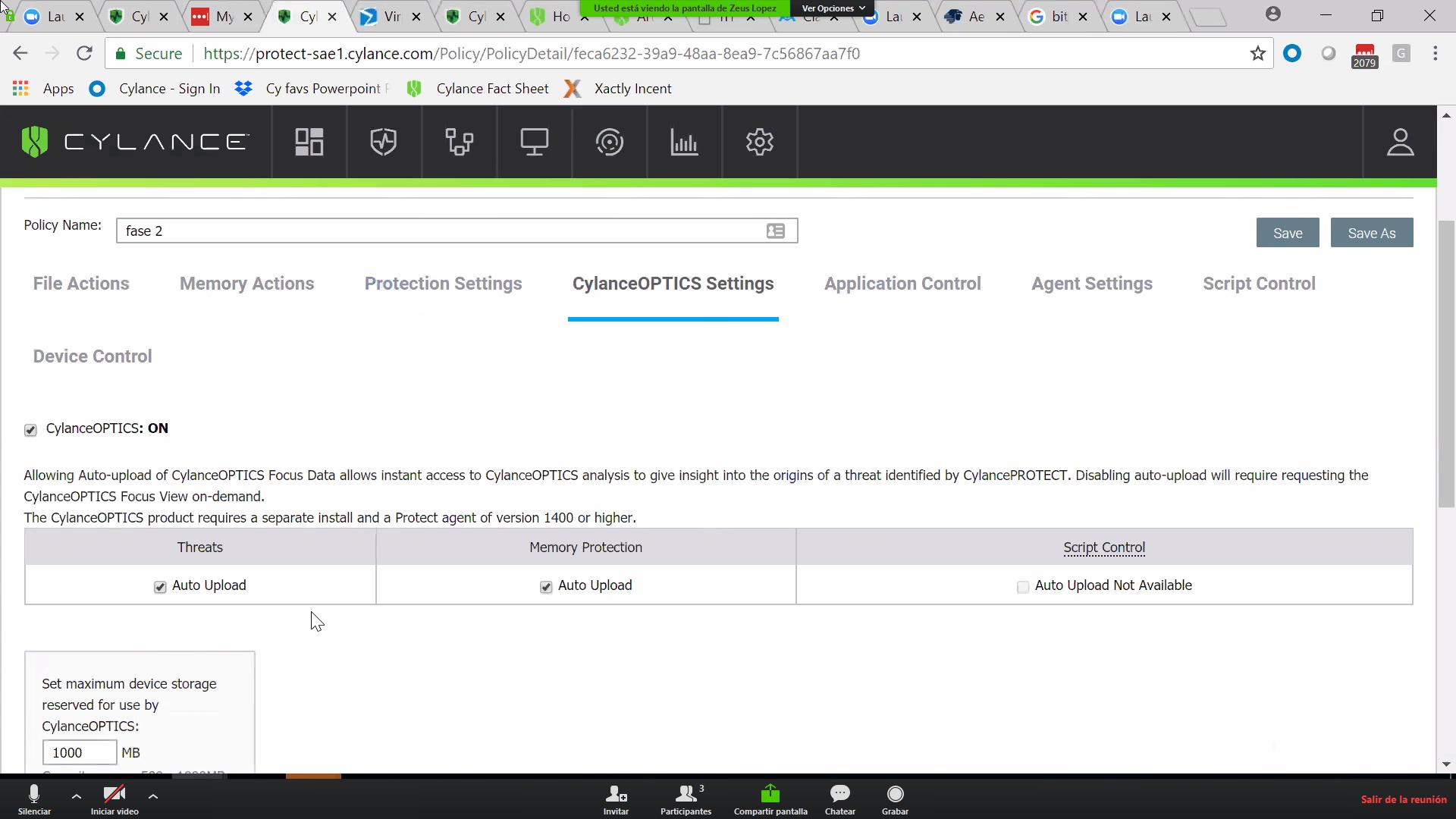 CylancePROTECT settings screenshot