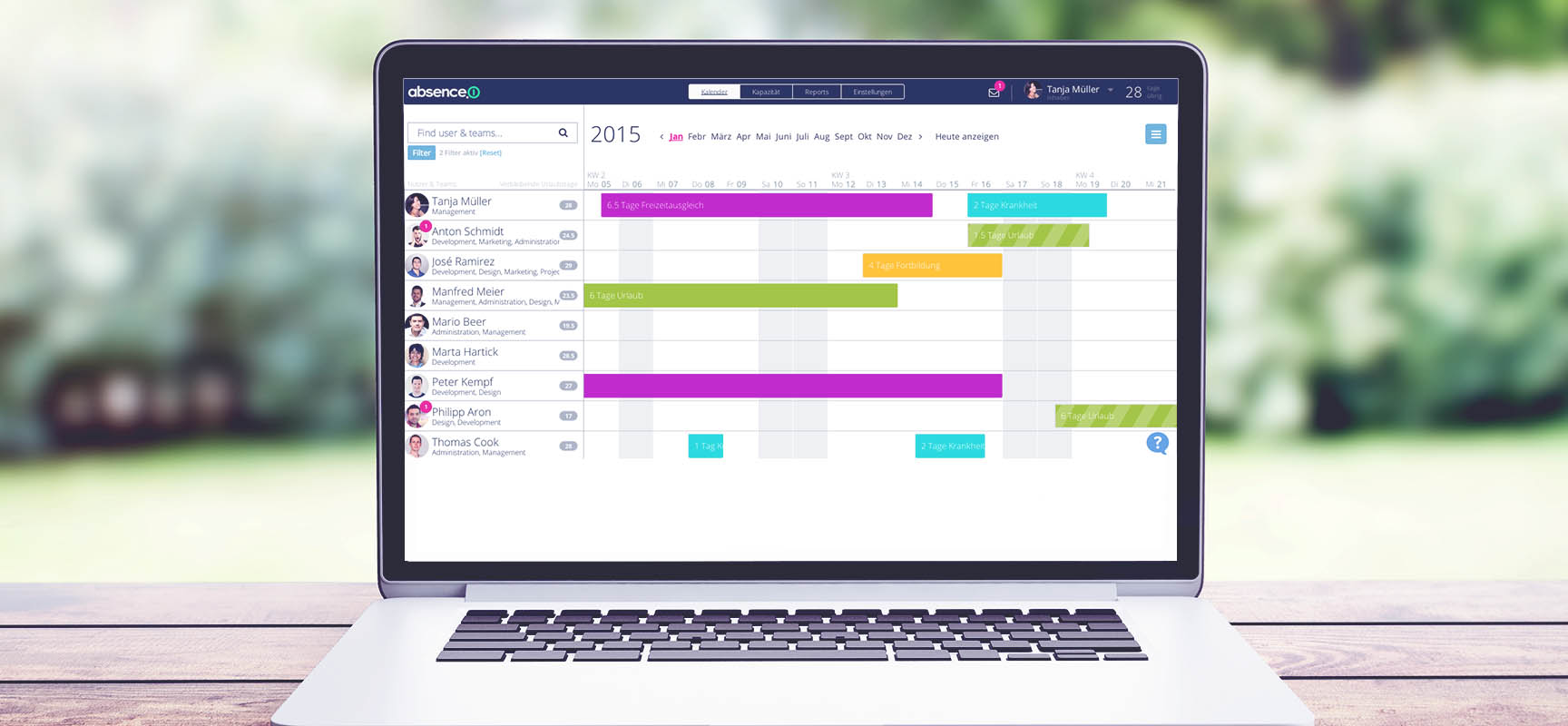 absence.io screenshot: absence.io allows employees to request leave online through the integrated absence calendar