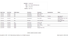 ScheduleAnywhere Software - The daily roster gives an overview of which staff are scheduled to work on the current day