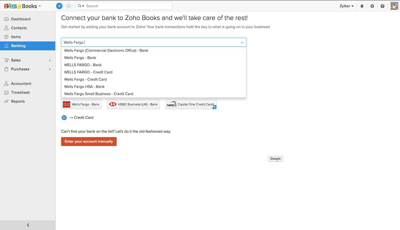 Zoho Books banking