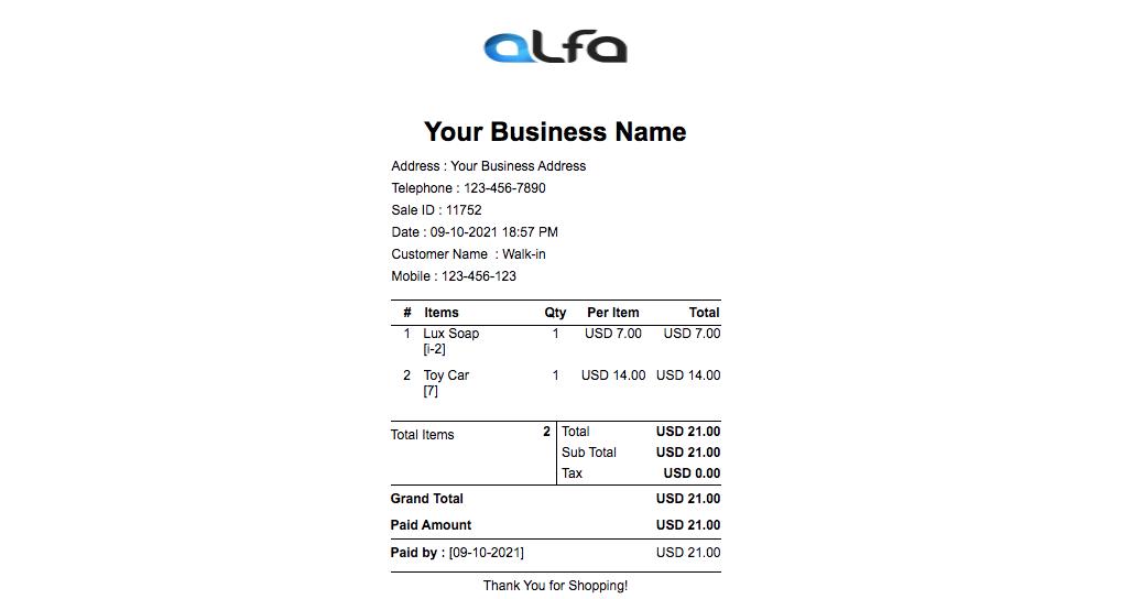 Alfa POS Software - 3