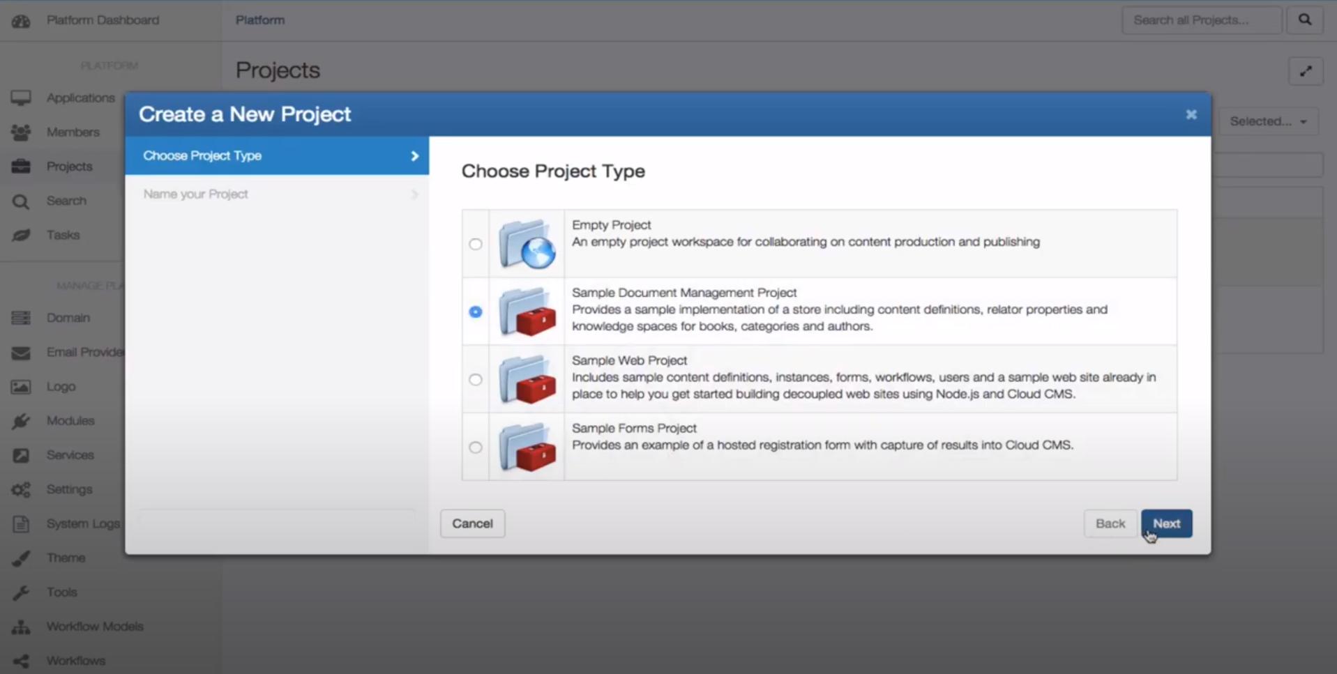 Cloud CMS create project