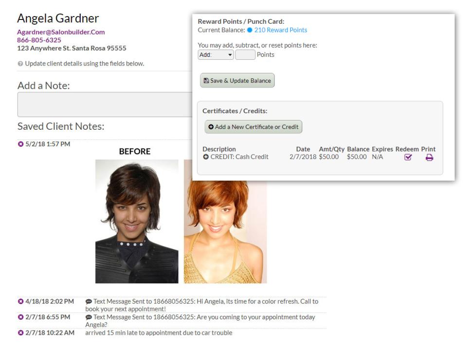 SalonBuilder client profiles