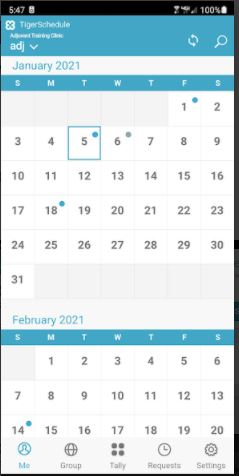 TigerSchedule provides clickable calendars for easy management and viewing of who's on call any given day.
