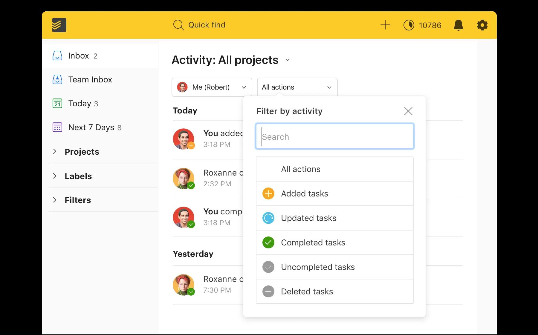 Todoist Software - Todoist activity log
