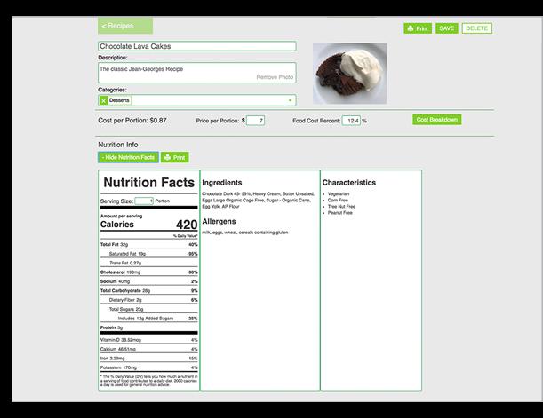Parsley nutritional analysis screenshot