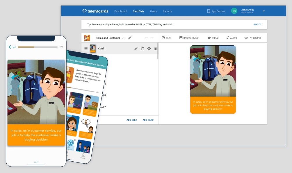 TalentCards Admin View and Mobile View