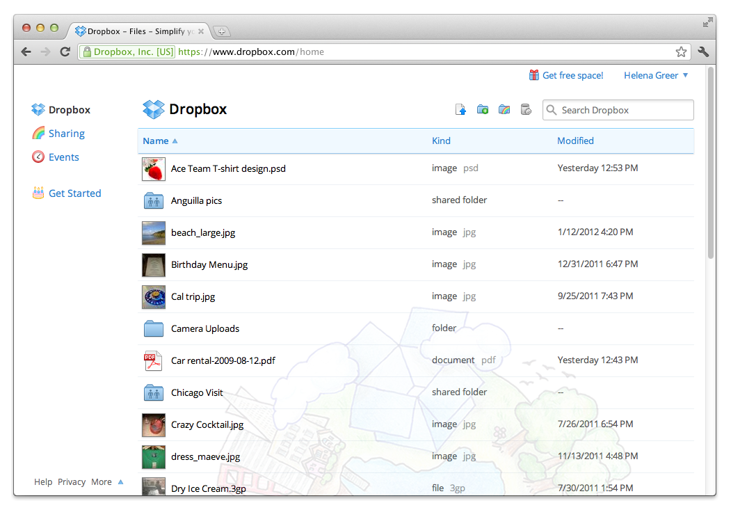 Store photographs in Dropbox