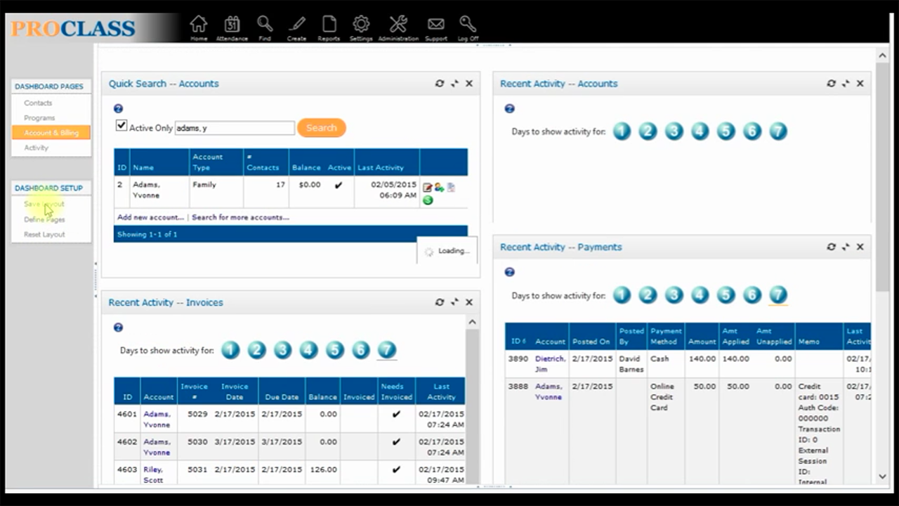 ProClass Software - ProClass customizable dashboard