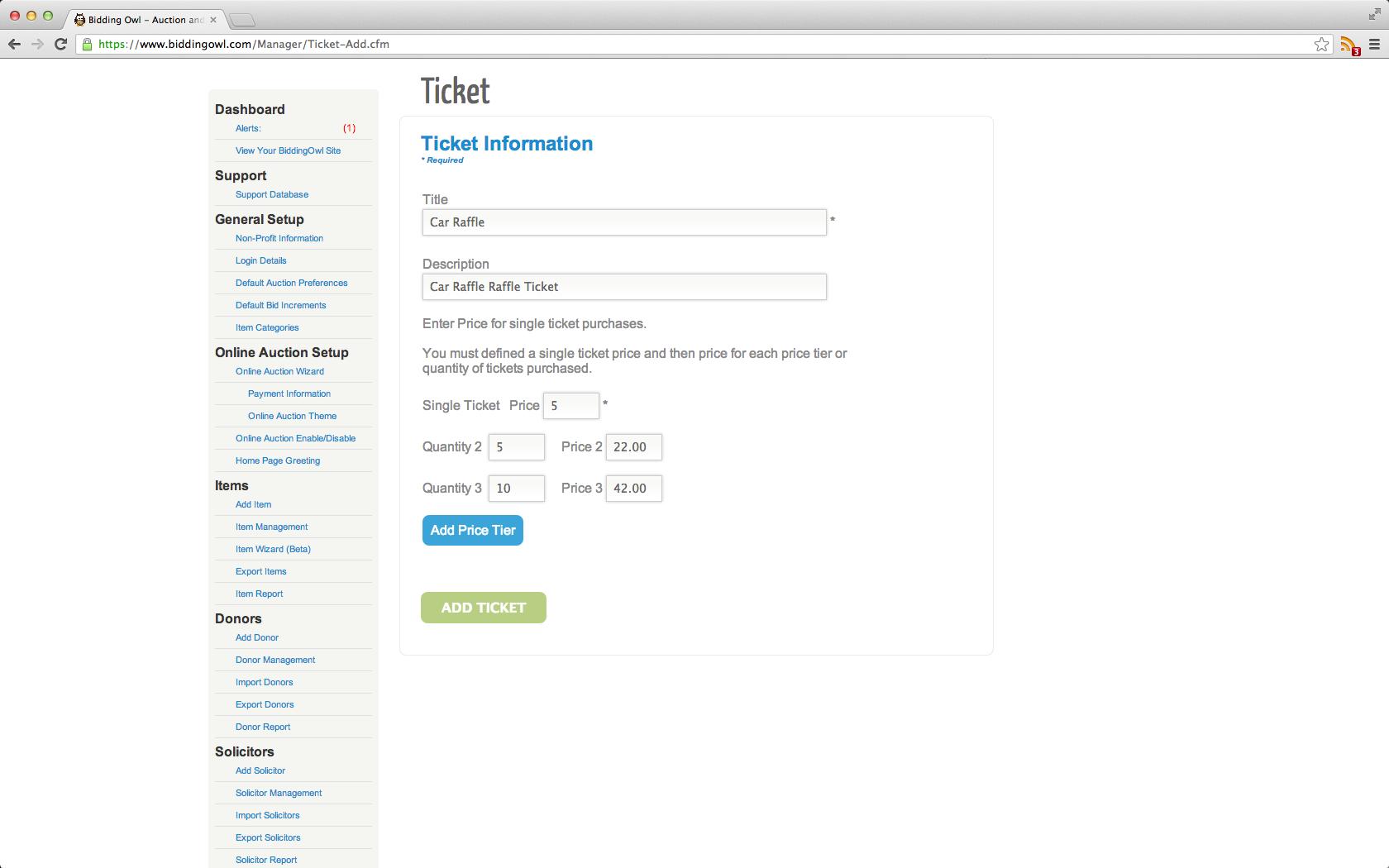 BiddingOwl.com ticket