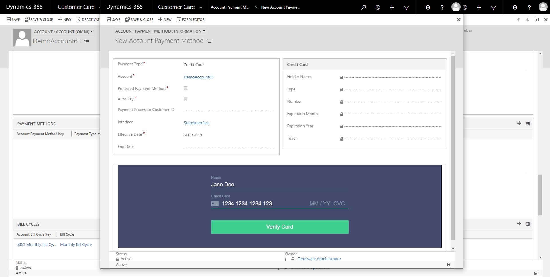Adding account payment method