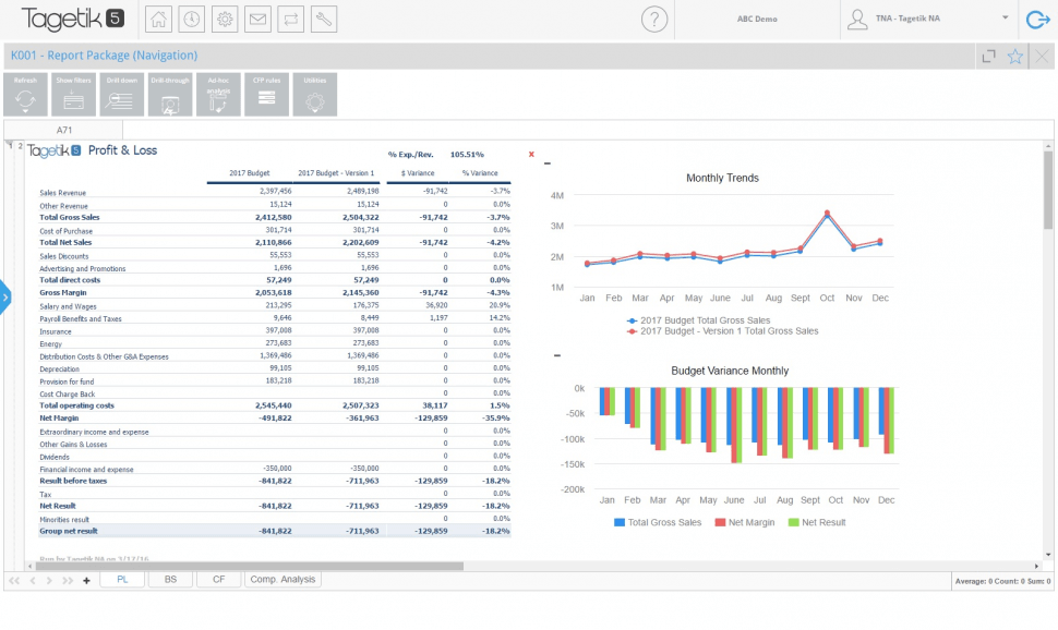 CCH Tagetik Software - Profit and loss reports