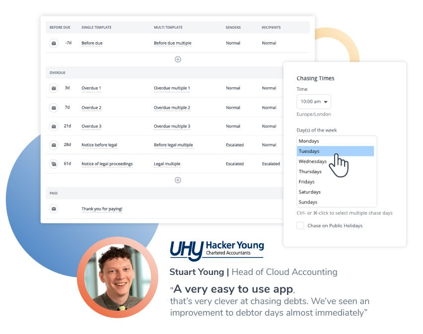 Chaser Software - Schedule payment reminders at the best time: Create unlimited custom schedules that suit your different groups of customers, such as good payers, bad payers, or long-term clients, schedule as many payment reminders as you require, at intervals you choose